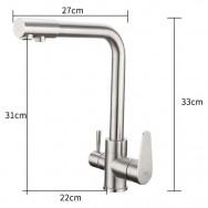 Смеситель для кухни из нержавеющей стали с подключением фильтра питьевой воды F4348