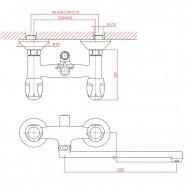Смеситель ZOLLEN NURNBERG (арт. NU62620141) для ванны нижний изл. 320мм с аксес.