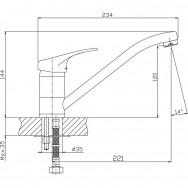 Смеситель ZOLLEN LEIPZIG LE73610422 для кухни излив 220 мм, карт.35 мм