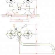 Смеситель ZOLLEN BAMBERG BA62620241 для ванны нижний излив