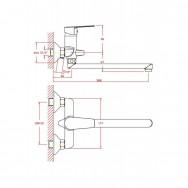 Смеситель ZOLLEN KORBACH (арт. KR62411541) для ванны, дл.излив 350мм,карт.35 мм