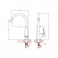 Смеситель ZOLLEN KORBACH KR74411532 для кухни, высокий излив, карт.35 мм