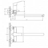 Смеситель ZOLLEN REGEN (арт. RE62614241) для ванны, дл.излив 320мм, карт. 35 мм